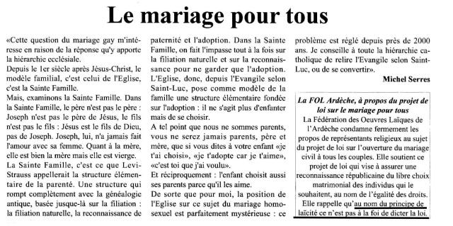 LE MARIAGE POUR TOUS - Michel Serres