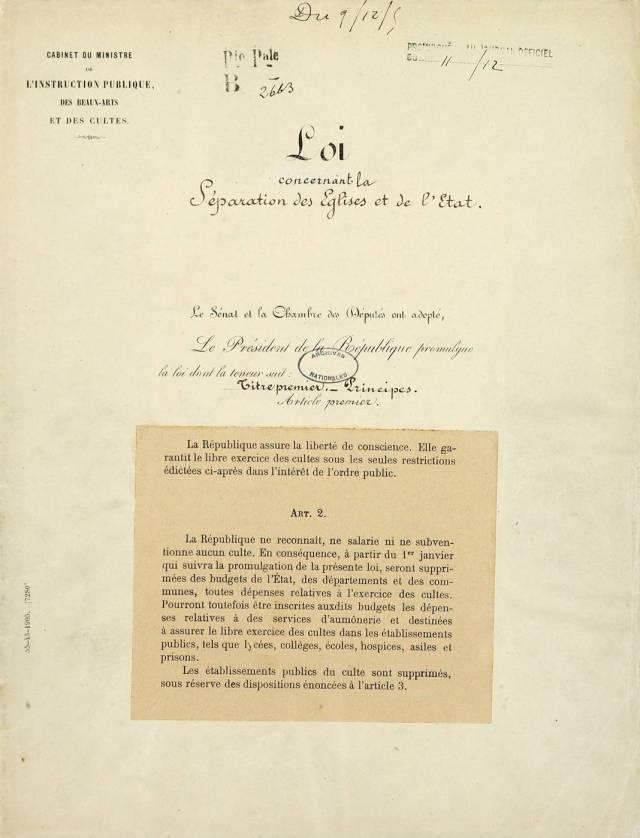 Loi du 9 décembre 1905 - Séparation des églises et de l'état